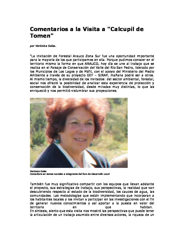 Comentarios a la Visita a Calcupil de Tomen