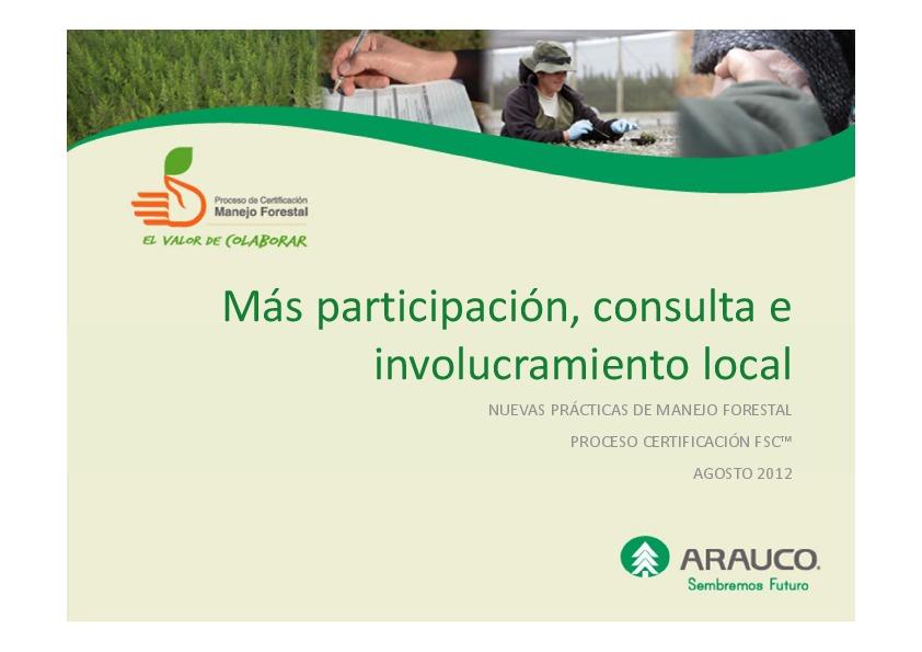 Más Participación, Consulta e involucramiento local