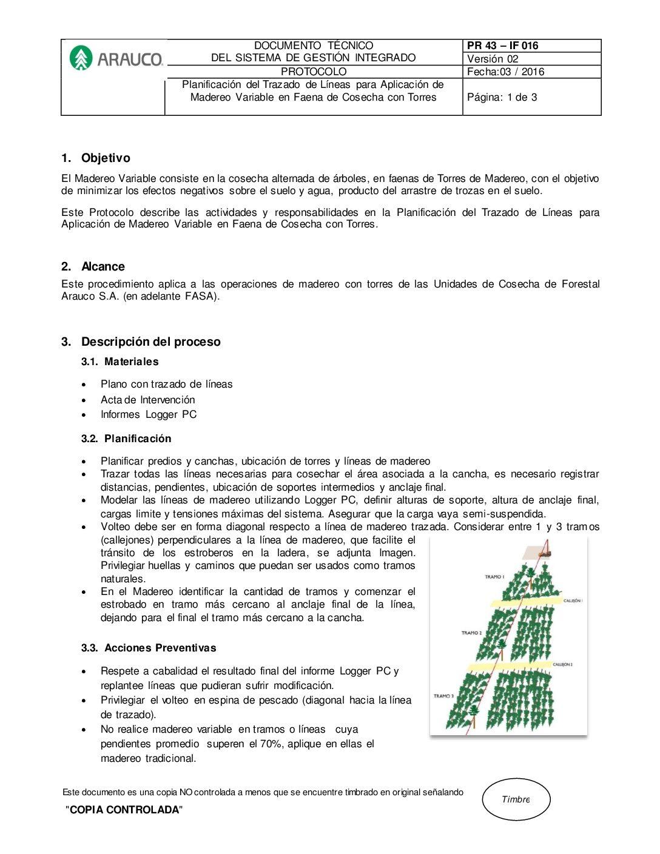 Protocolo madereo variable 2016