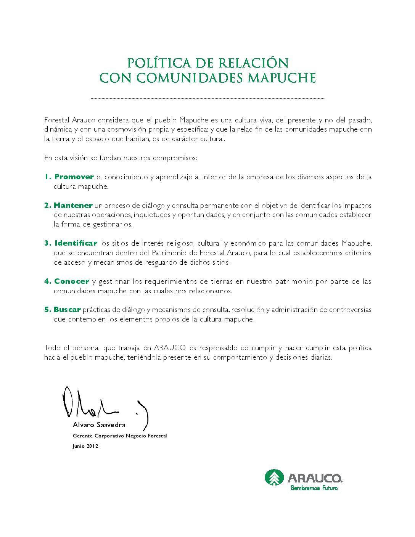 Política de relacion con comunidades mapuche