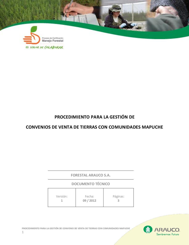 Procedimiento Gestión Convenios de Venta de Tierra a comunidades mapuche v1 2012 09