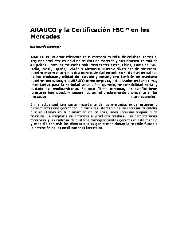 ARAUCO y Certificación FSC ® en los mercados