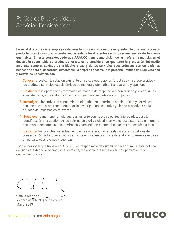 Política Biodiversidad (FASA mayo 2019)