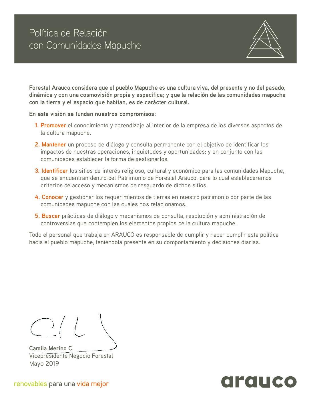 Política Mapuche FASA mayo 2019