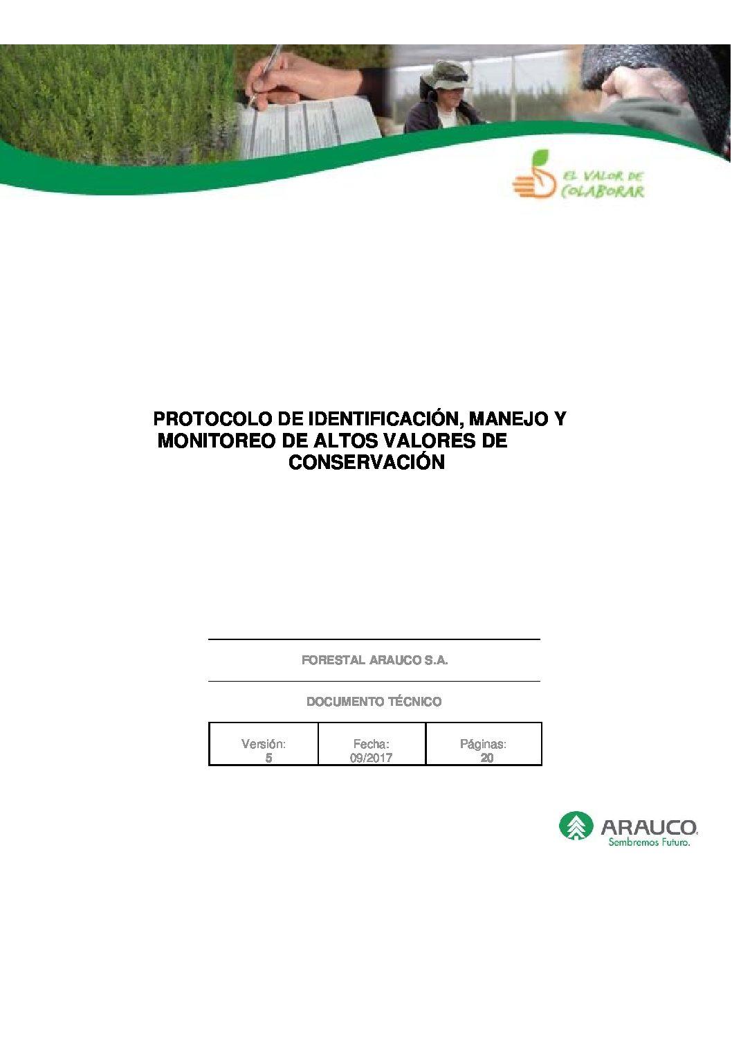 Protocolo de identificación manejo y monitoreo de áreas de alto valor ambiental