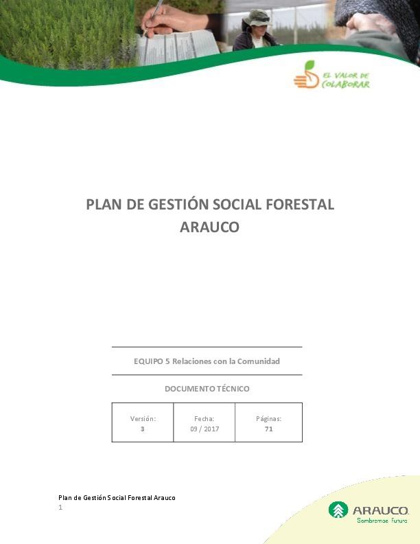 Plan de Gestión Social Forestal Arauco 2017