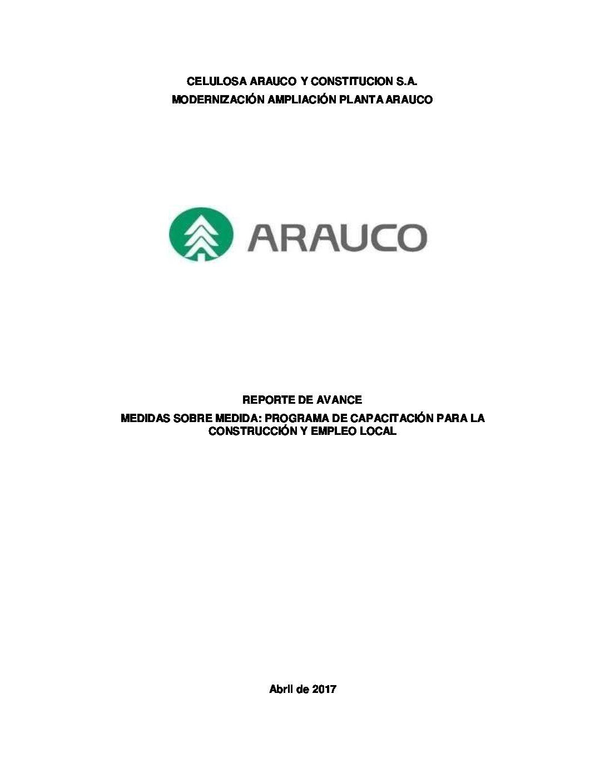 Reporte avance medida capacitación y empleo local MAPA Abril 2017