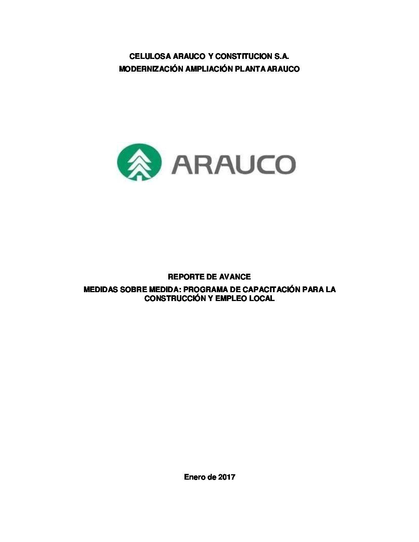 Reporte avance medida capacitación y empleo local MAPA Enero 2017
