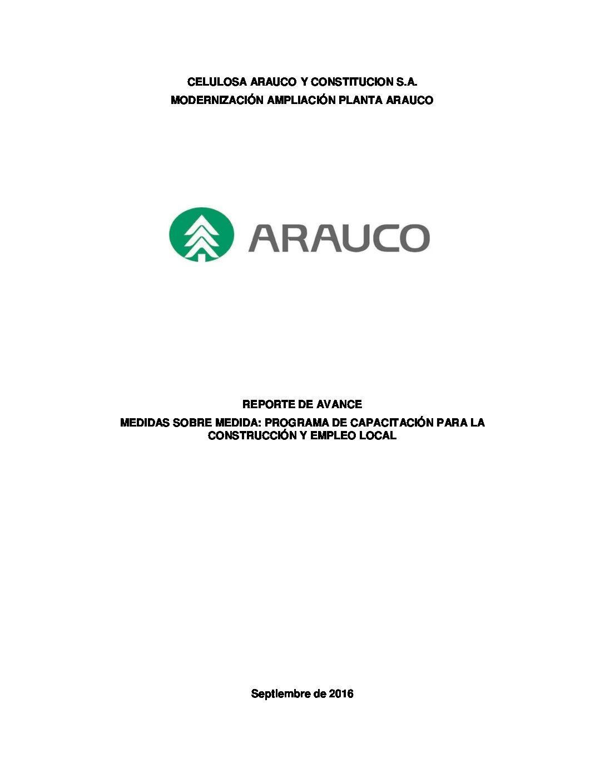 Reporte avance medida capacitación y empleo local MAPA septiembre 2016