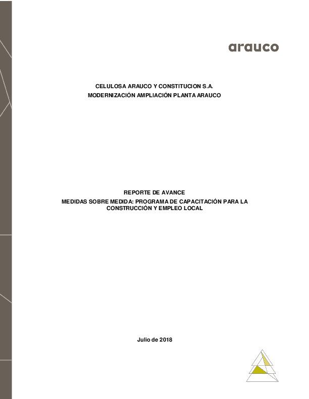 Reporte de avance de medidas sobre medida: Programa de Capacitación para la construcción y empleo local - Julio 2018