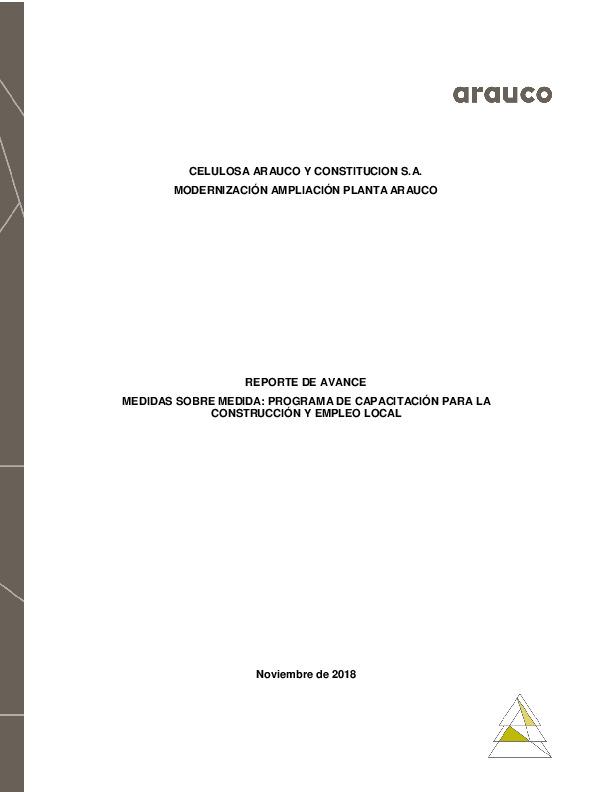 Reporte de avance de medidas sobre medida: Programa de Capacitación para la construcción y empleo local - Noviembre 2018