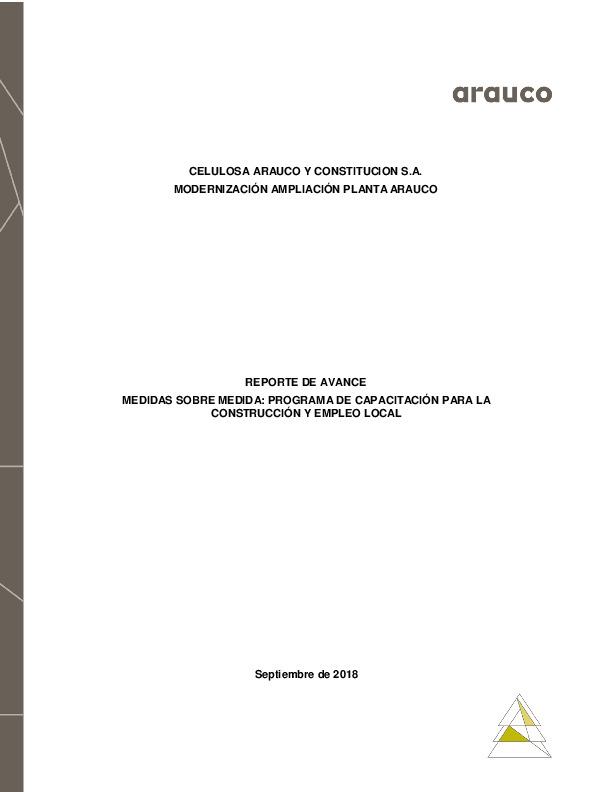 Reporte de avance de medidas sobre medida: Programa de Capacitación para la construcción y empleo local - Septiembre 2018