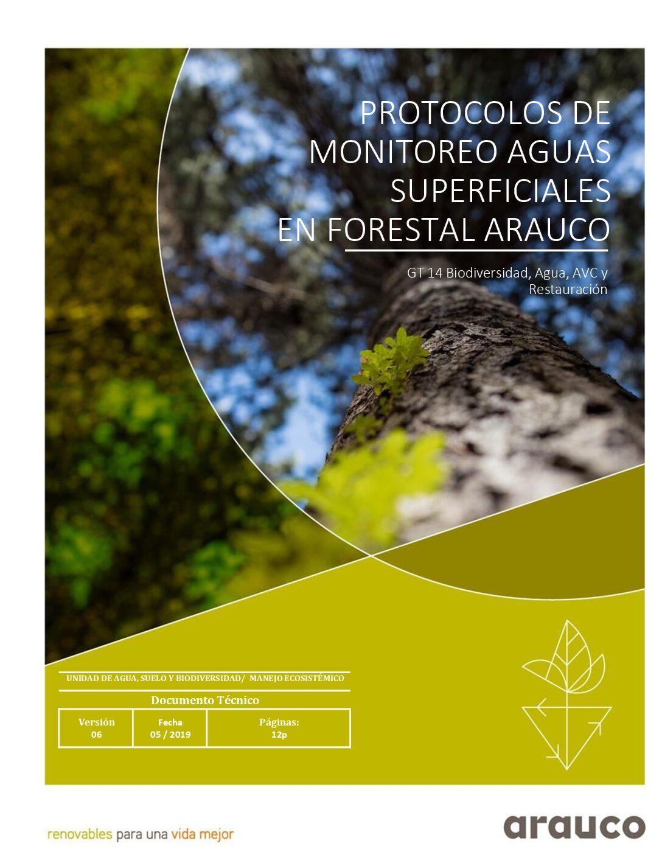 Protocolos de monitoreo aguas superficiales en Forestal Arauco