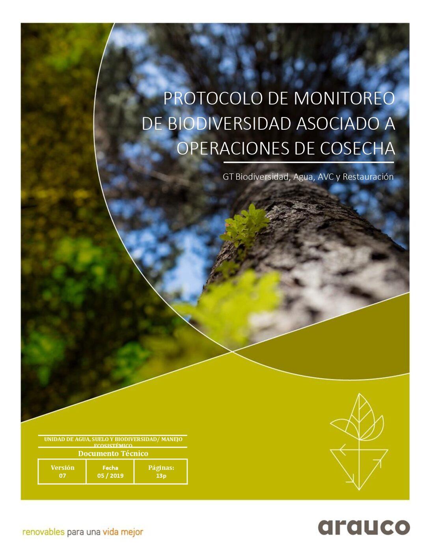 Protocolo de Monitoreo de biodiversidad asociado a operaciones de cosecha