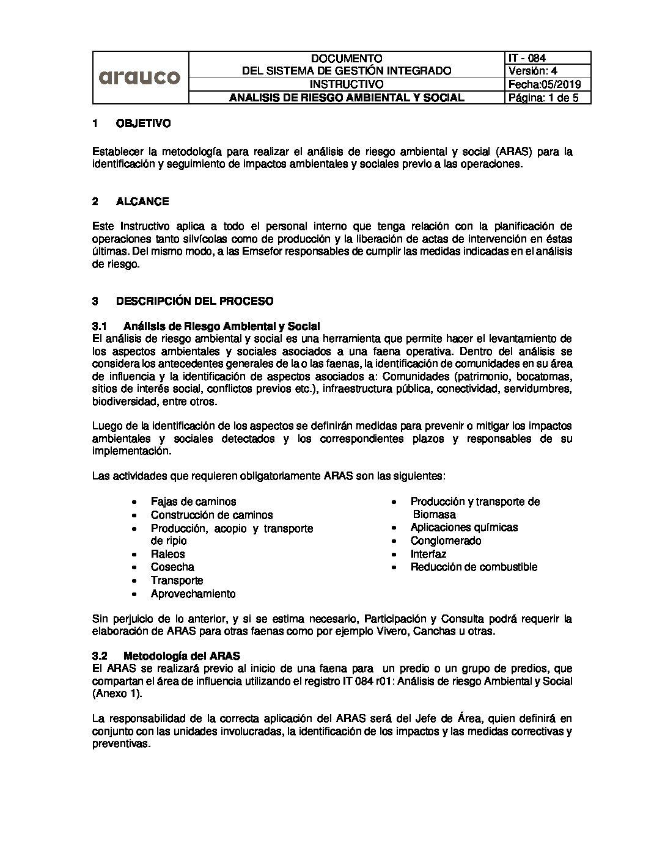 IT 084 - ANALISIS DE RIESGO AMBIENTAL Y SOCIAL v4 05.2019