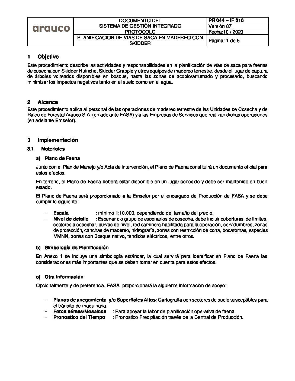 Protocolo Planificación Vías de Saca en Madereo Skidder