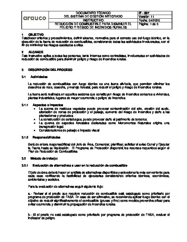 IF 007 - REDUCCION DE COMBUSTIBLE PARA DISMINUIR PELIGRO Y RIESGO DE INCENDIOS RURALES v9
